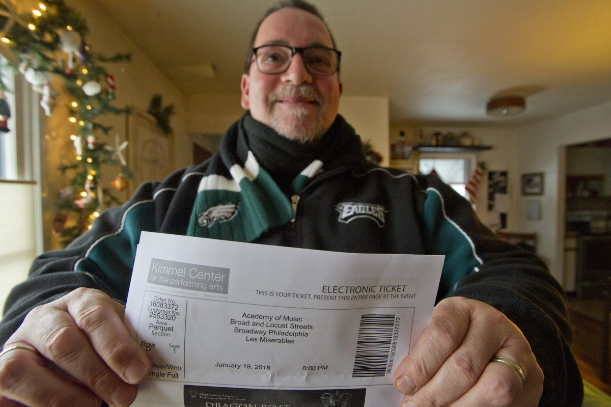Joe Ambrosino paid nearly $1,000 to resolve a conflict between Sunday's Les Miserables show and Sunday's Eagles game.