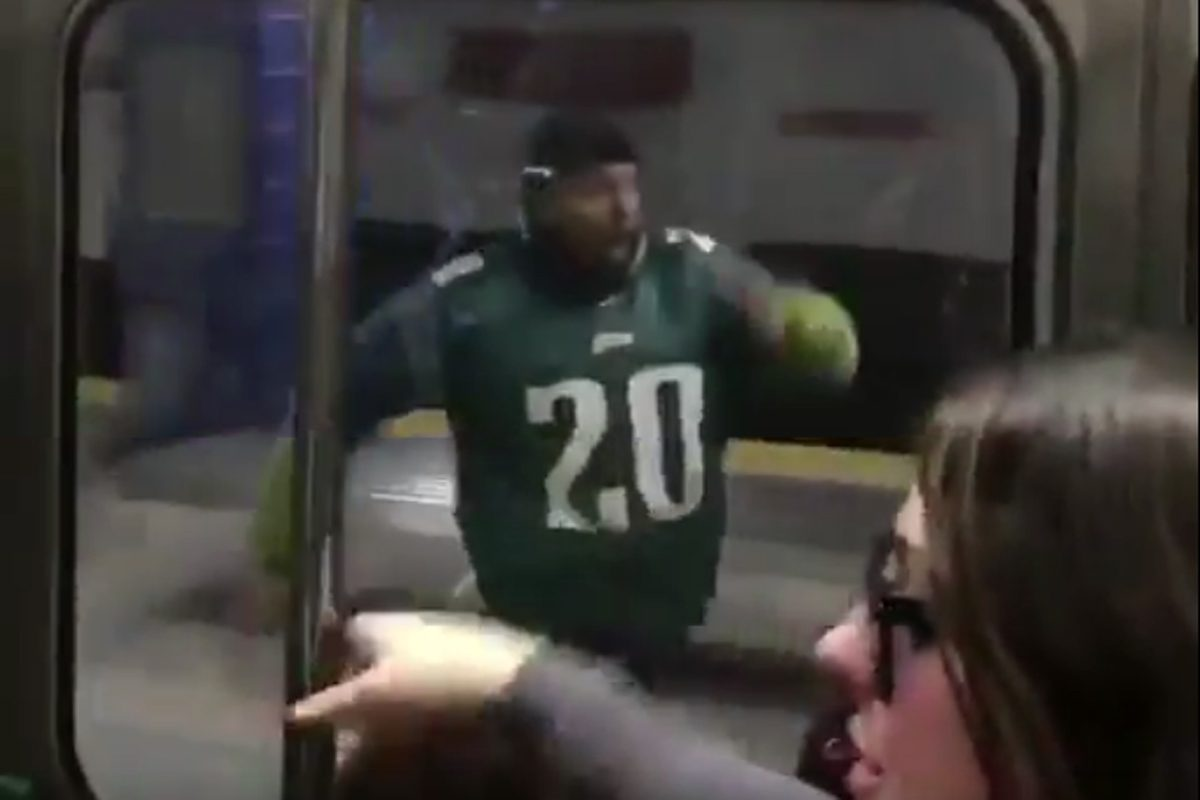 Transit Police Chief Tom Nestel said this yet-to-be-identified Eagles fan is OK after running at full speed into a concrete pole chasing after a SEPTA car.