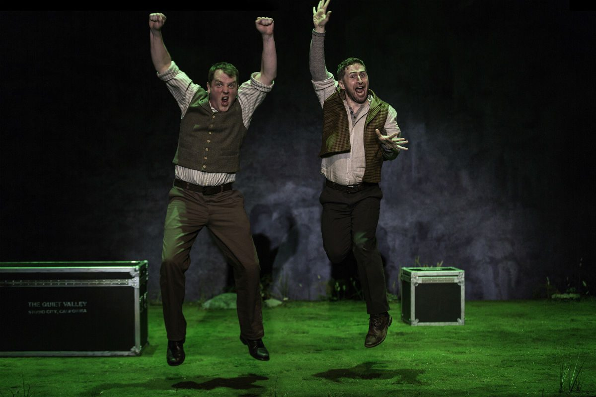"Garrett Lombard (left) as Charlie and Aaron Monaghan as Jake in ""Stones in His Pockets,"" through Feb. 11 at the Berlind Theatre, McCarter Theatre Company in Princeton."