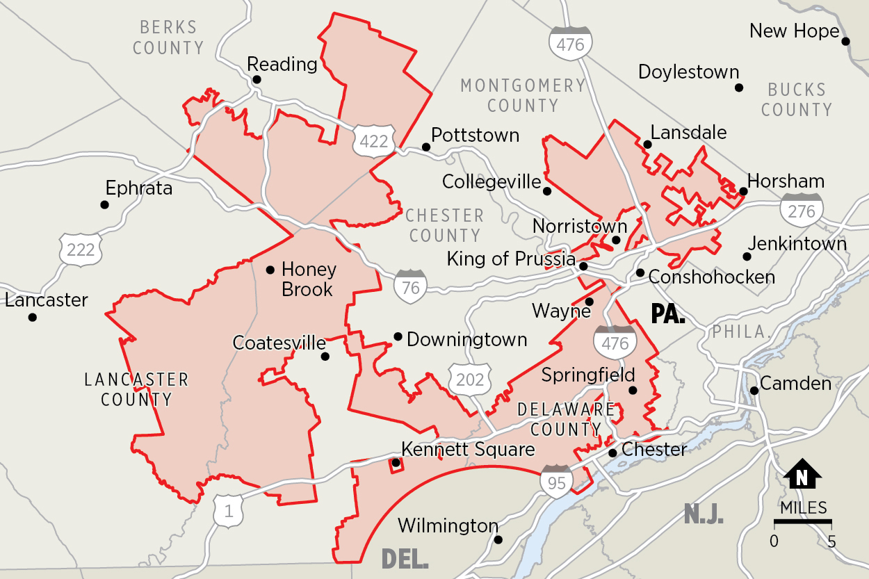 Pennsylvania's Seventh Congressional District under the 2011 map includes portions of five counties and is held together in parts by the width of a single building.