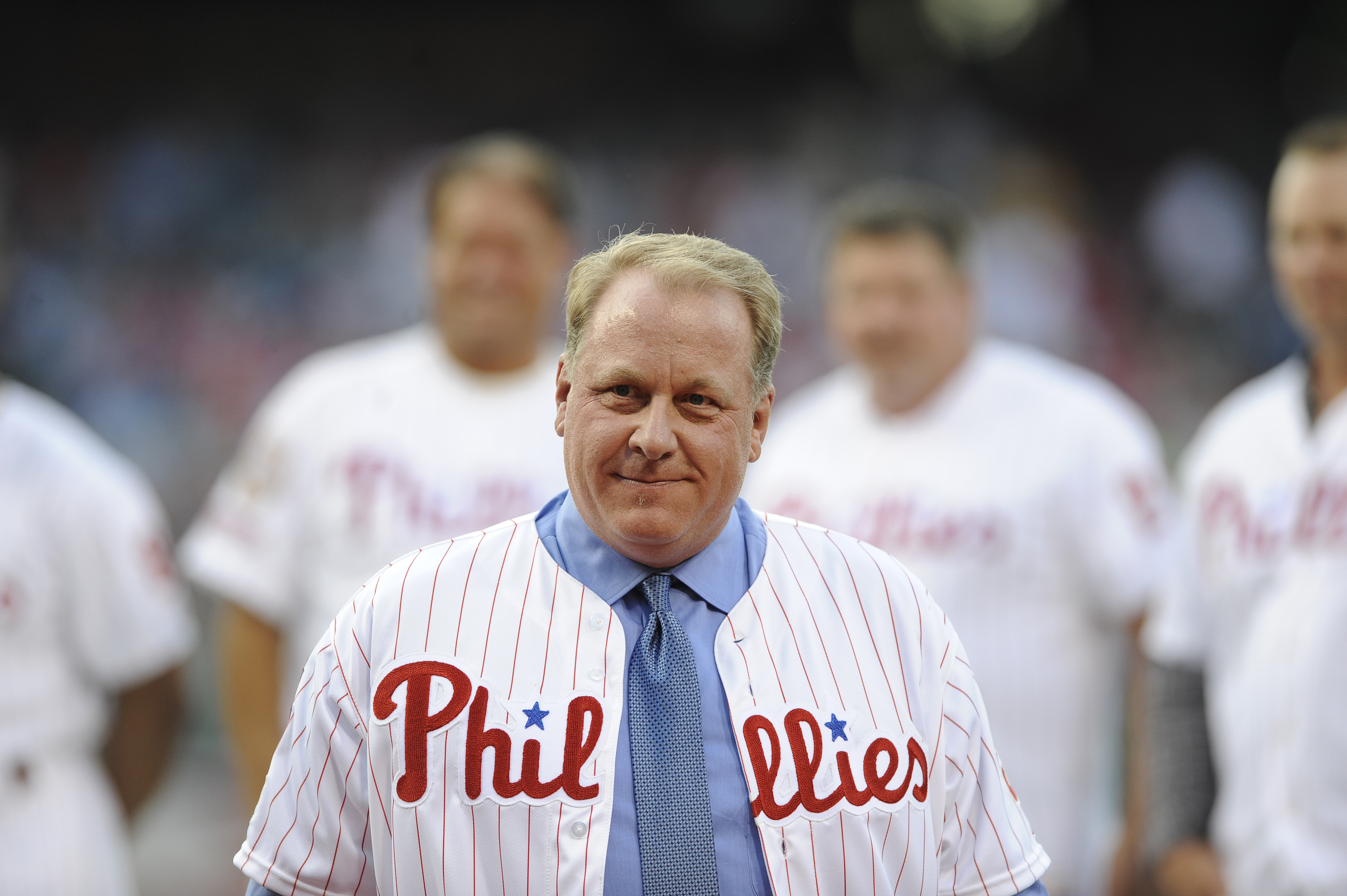 Former Philadelphia Phillies pitcher Curt Schilling is inducted into the Phillies Wall of Fame during a baseball game between the Philadelphia Phillies and the Atlanta Braves in Philadelphia.