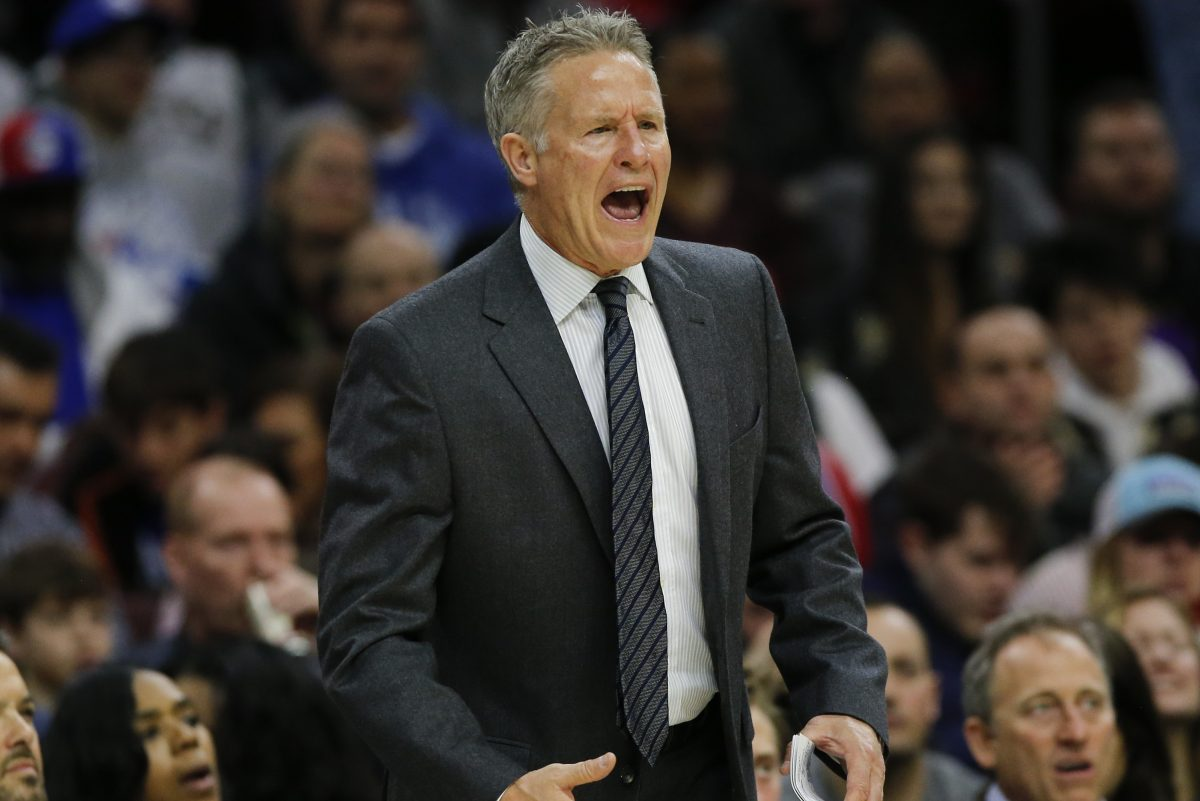 Sixers head coach Brett Brown yells to his team during the second-quarter against the Milwaukee Bucks on Saturday, Jan. 20, 2018 in Philadelphia.