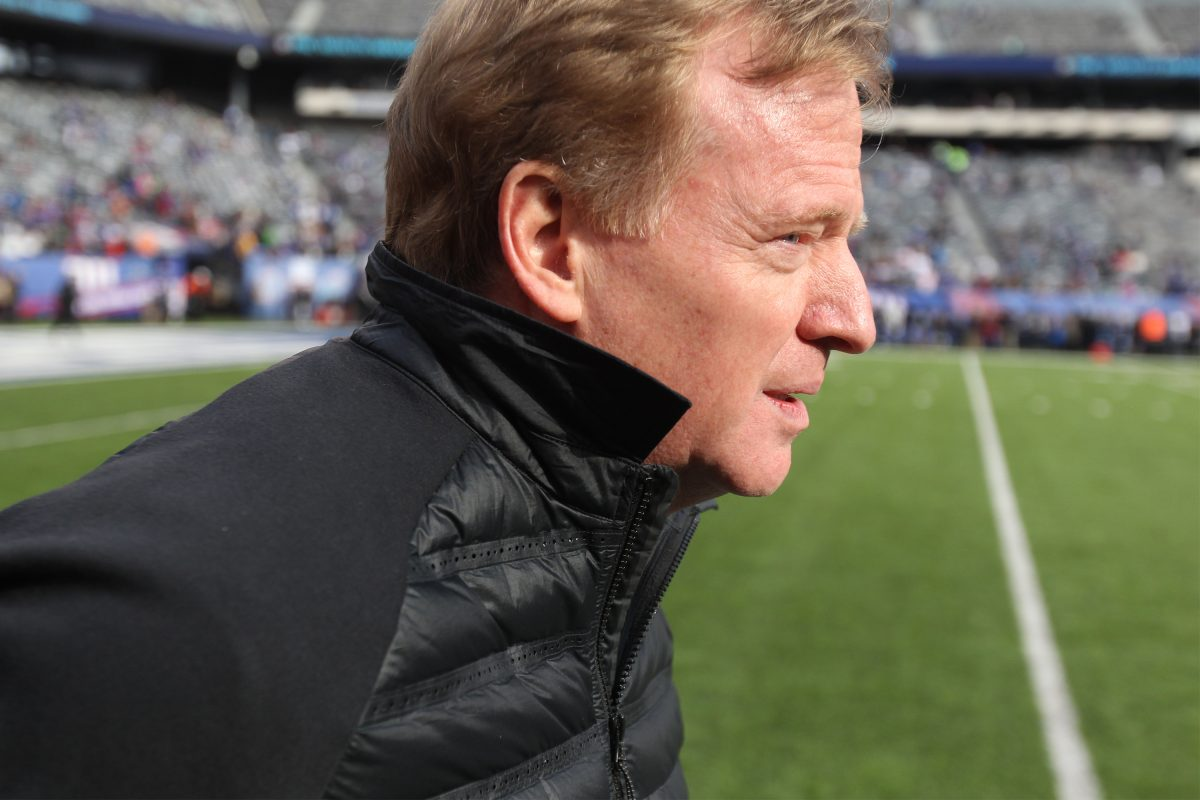NFL Commisioner Roger Goodell on the field at Met Life Stadium before the Eagles-Giants game December 17, 2017.