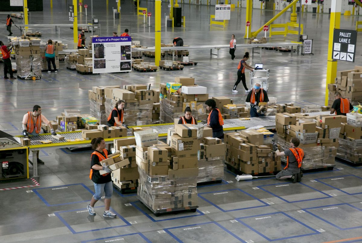 Amazon workers in the sortation center in Kent, Wash., in 2014.