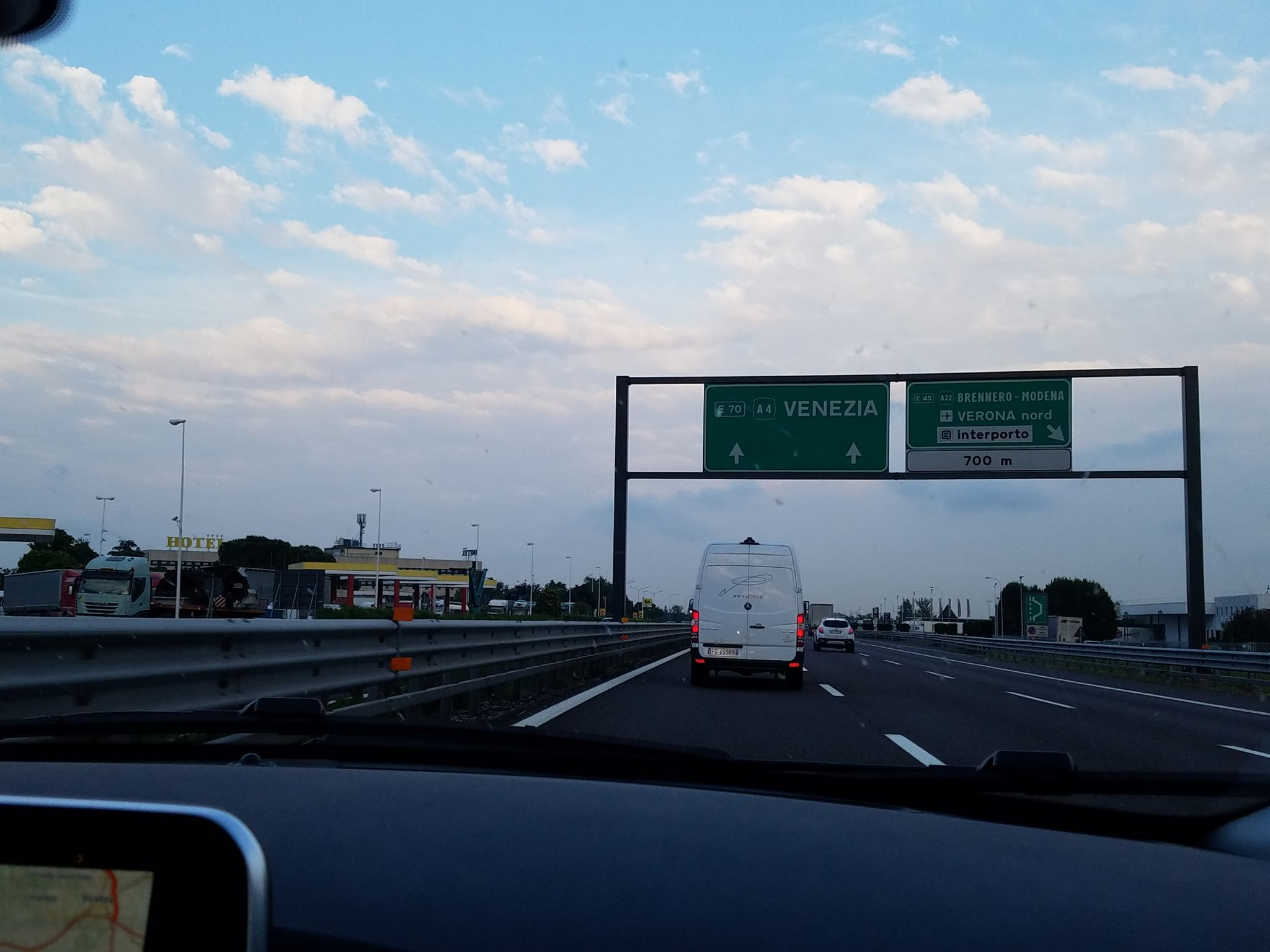 Philadelphia drivers should feel at home on Italian highways, like on this one heading toward Venice. Note how the left lane is moving slowest of the three.