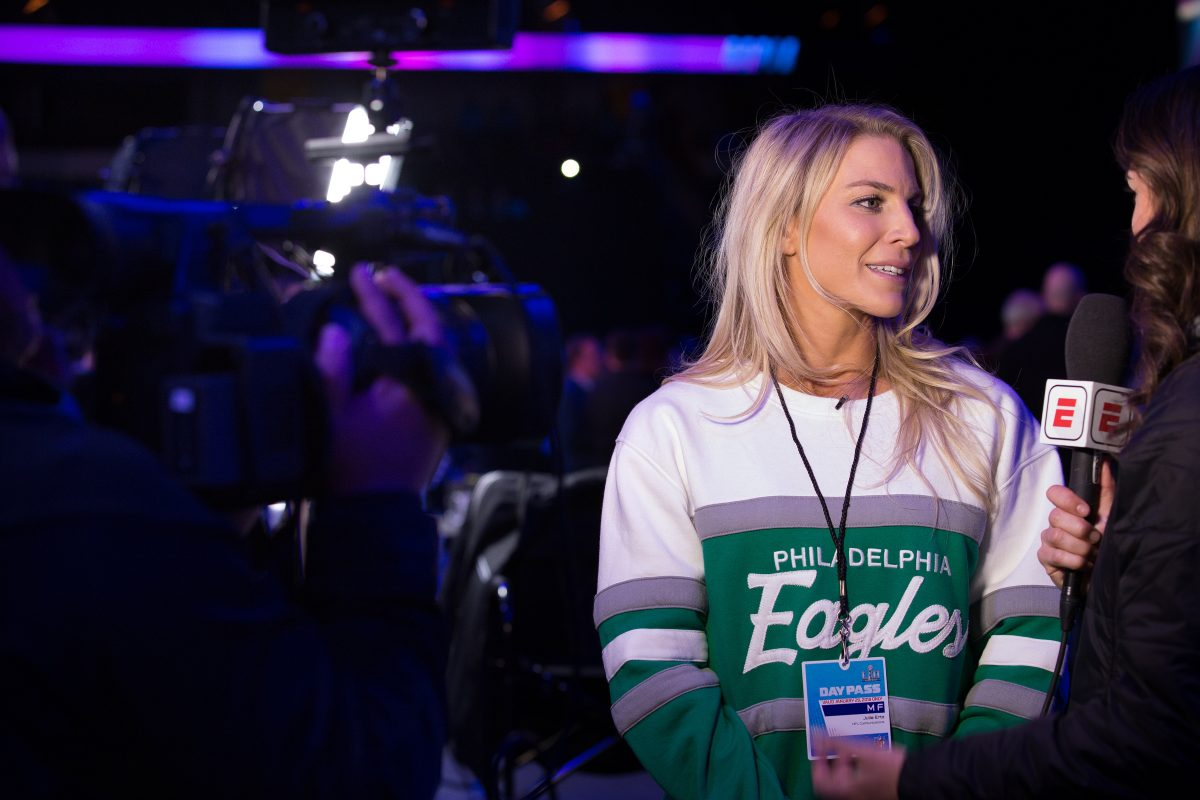 Julie Ertz speaks with a reporter at Super Bowl Media Day, at the Xcel Energy Center, in St. Paul, Minnesota, Monday, Jan. 29, 2018.