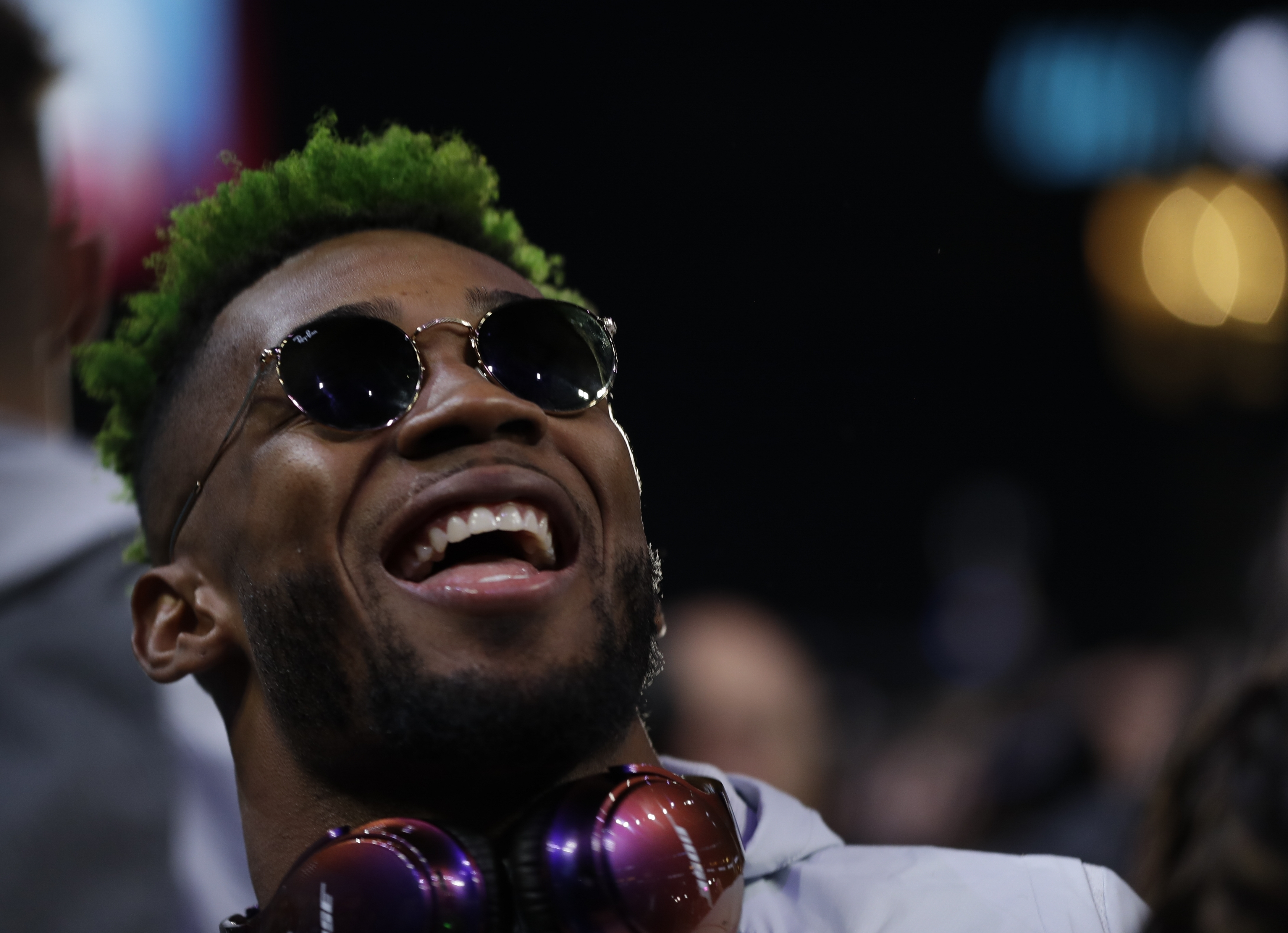 Jalen Mills smiles during the Super Bowl XLII Opening Night on Monday at the Xcel Energy Center in St. Paul, Minn.