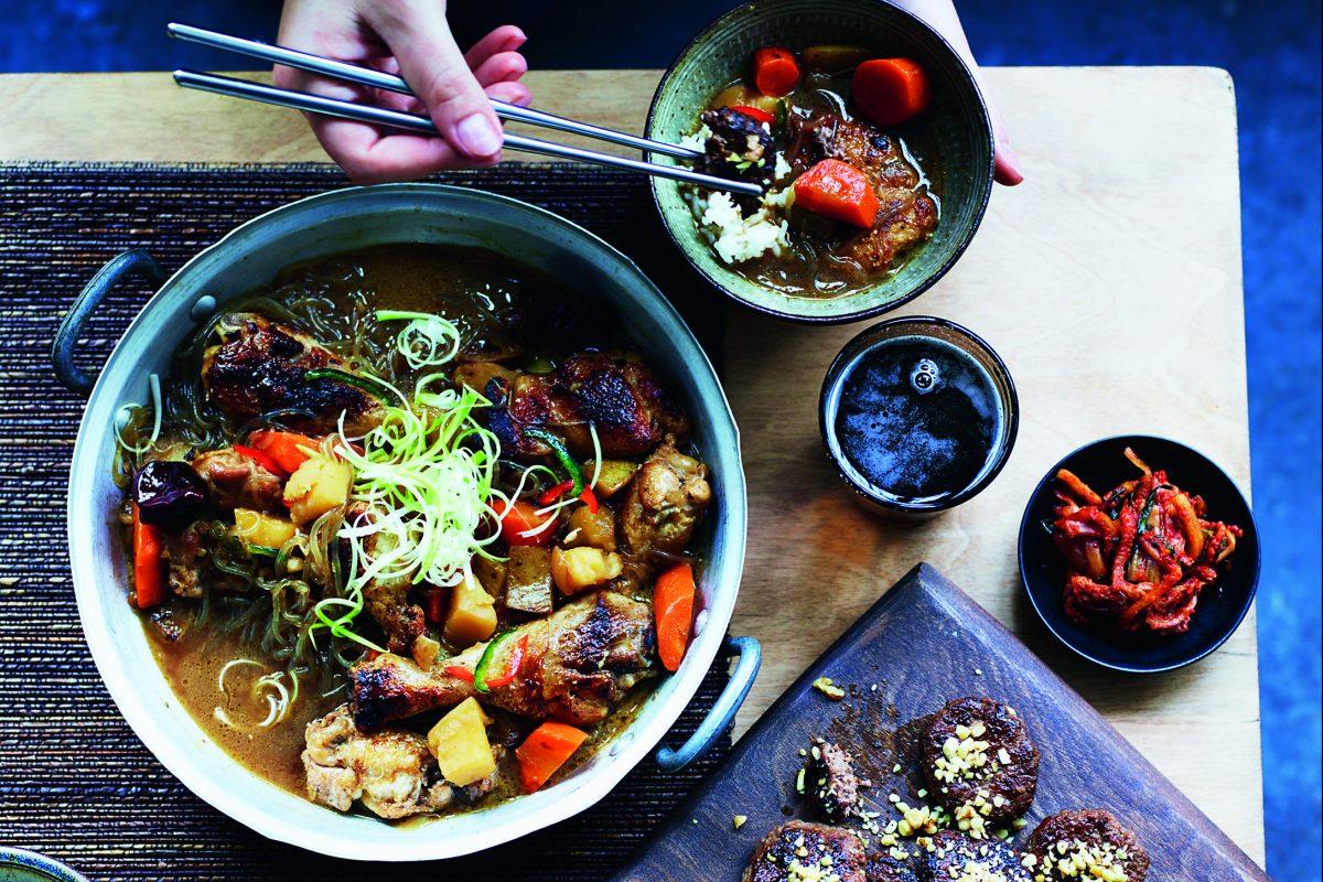 "Chicken, Vegetable and Noodle Hotpot (dak jjim) from ""Our Korean Kitchen."""