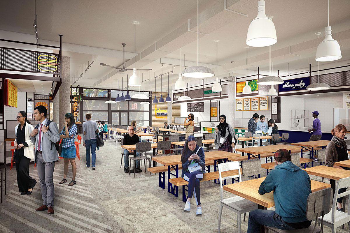 Rendering of Penn Food Hall.
