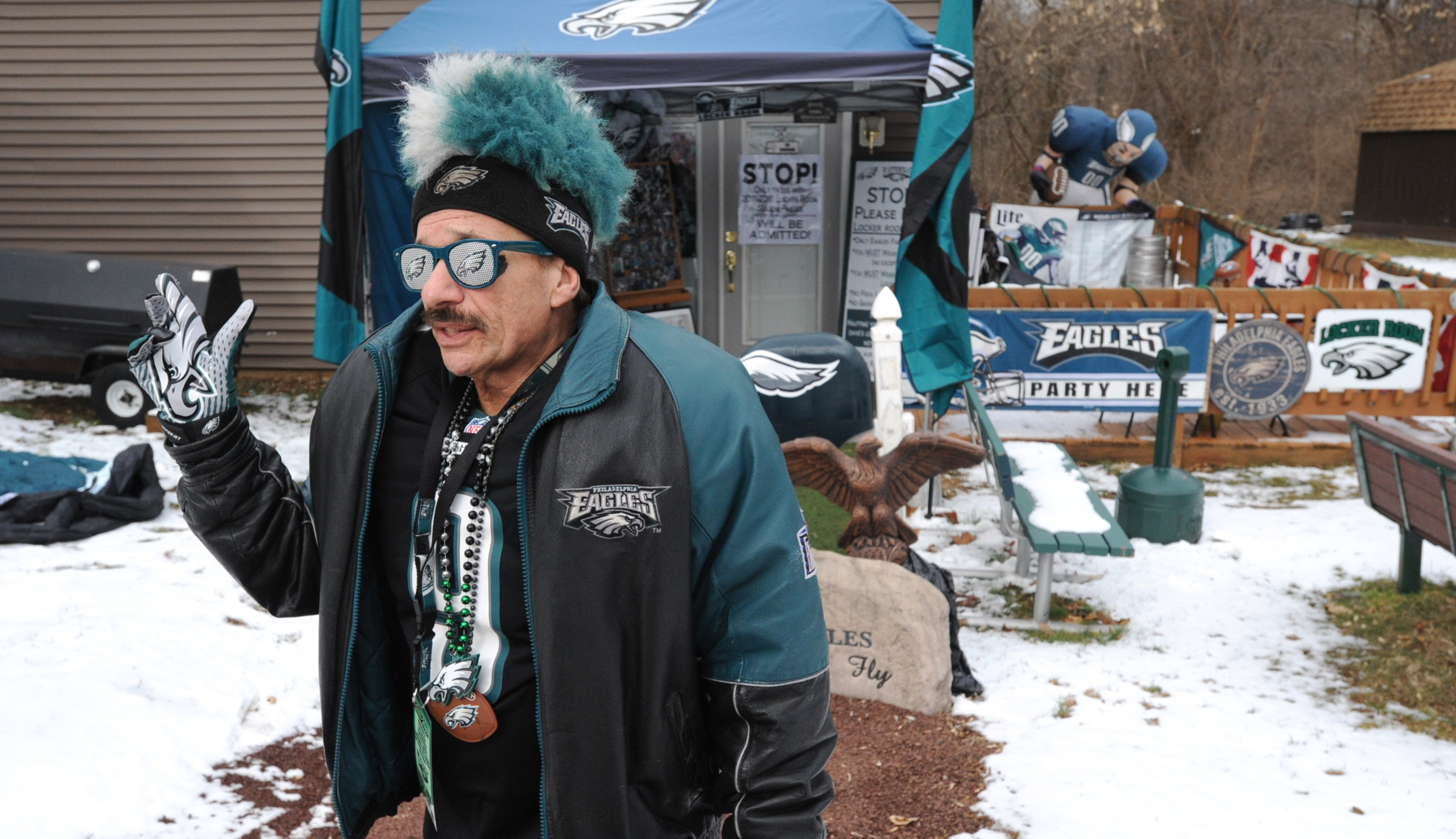 """Barry Vagnoni´s """"Man Cave"""" collection of Philadelphia Eagles memorabilia starts in his backyard with logos and dsisplay designed to keep Dallas Fans out are shown Thursday, Feb. 1, 2018 in Reading, Pa. (Bradley C Bower/Philadelphia Inquirer)"""