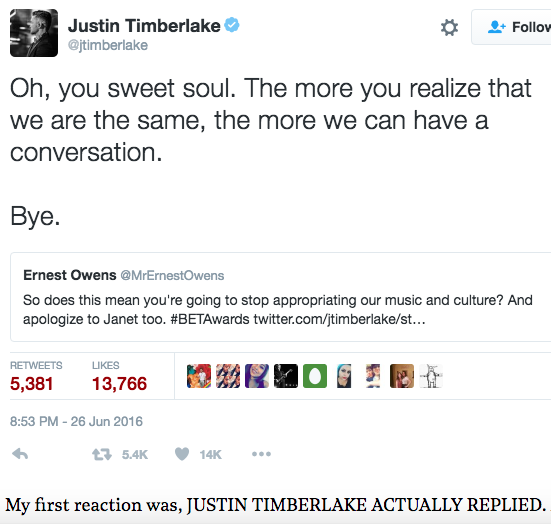 Justin Timberlake´s tweet to Ernest Owens from June 2016.