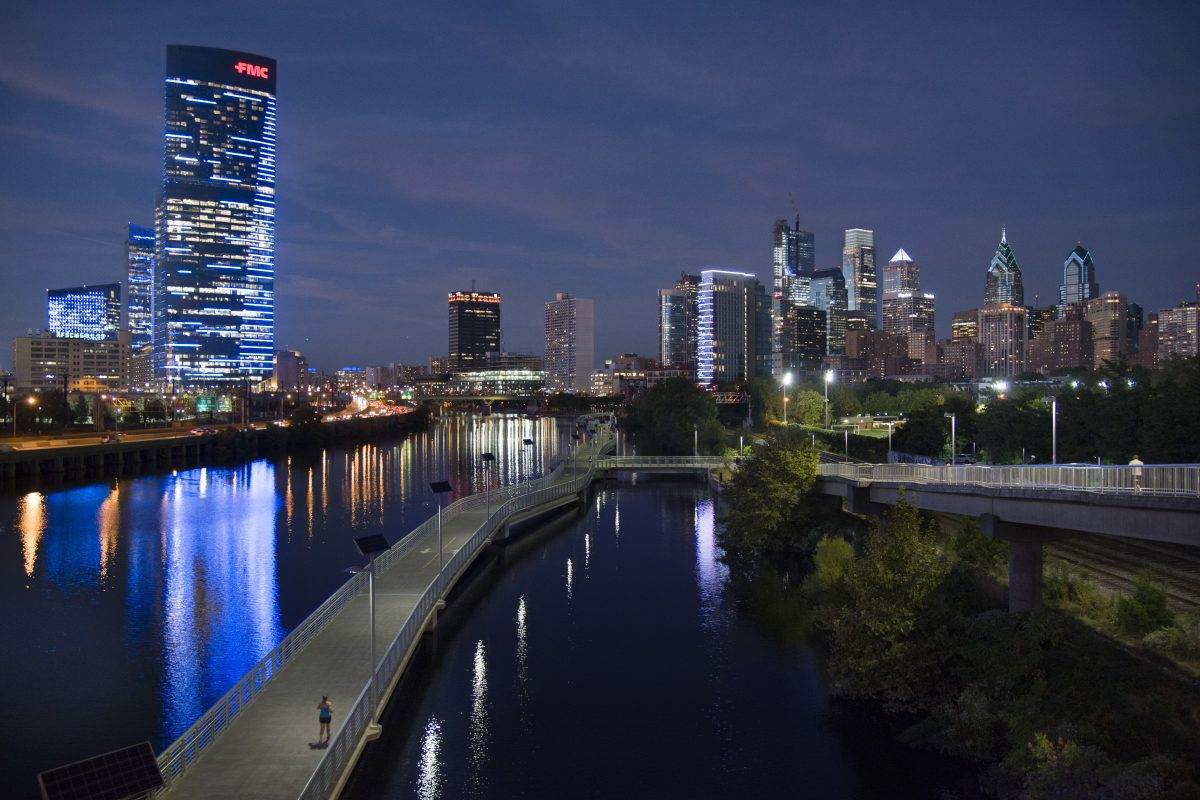 FILE PHOTO: The Philadelphia skyline seen from the South Street Bridge over the Schuylkill River includes the FMC Tower and Cira Centre South (left, foreground).