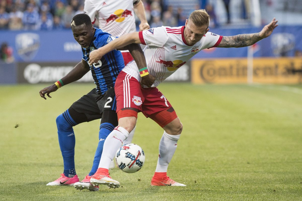 Daniel Royer (right) and the Red Bulls will face the Union on Sunday.