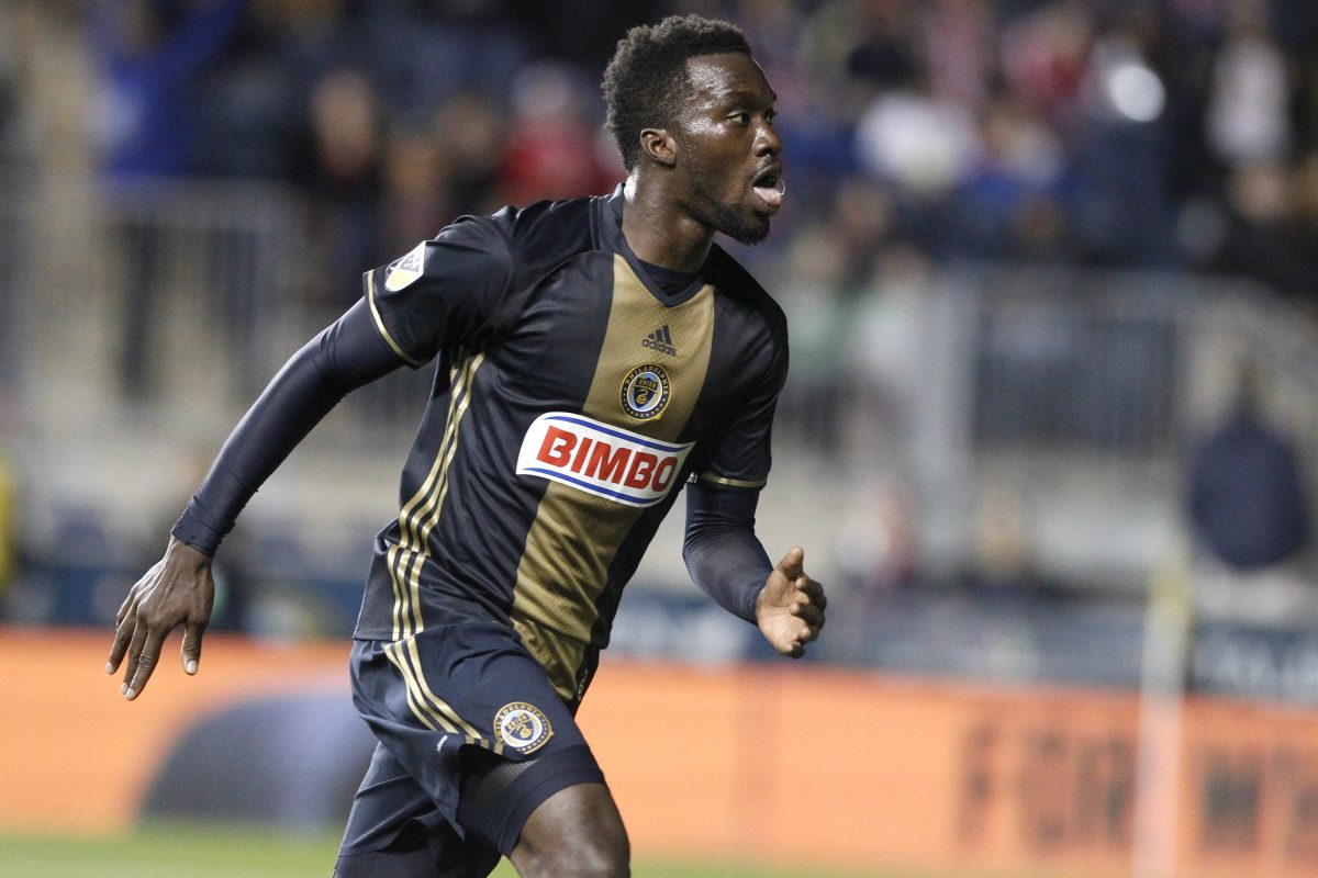 C.J. Sapong of the Union celebrates after the first of his 3 goals against the New York Red Bulls. It was their first victory of the year. CHARLES FOX / Staff Photographer
