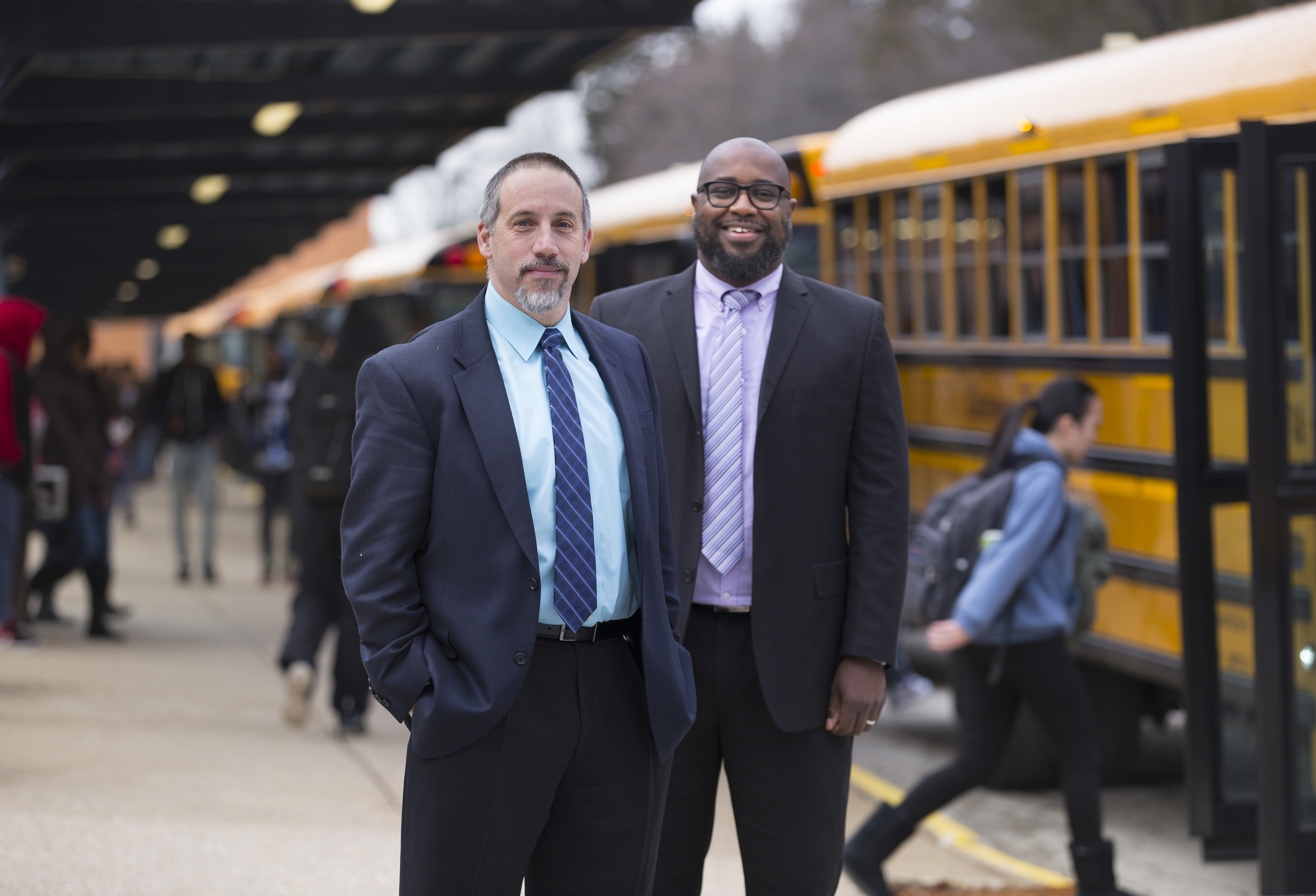 Dr. Raymond McFall, Principal, left, and Robert Curry, Climate and Culture Administrator, right, are shown here at Cheltenham High School, in Wyncote, PA, Tuesday, February 6, 2018. After last spring´s student melee in which seven staff members were hurt, Cheltenham School District has made dramatic moves to change the culture and climate at the school. JESSICA GRIFFIN / Staff Photographer.