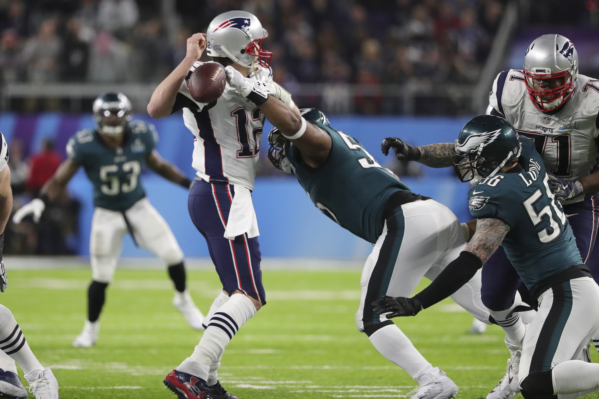 The forced fumble heard ´round the region. Brandon Graham dislodges the ball from Tom Brady late in Super Bowl 52.