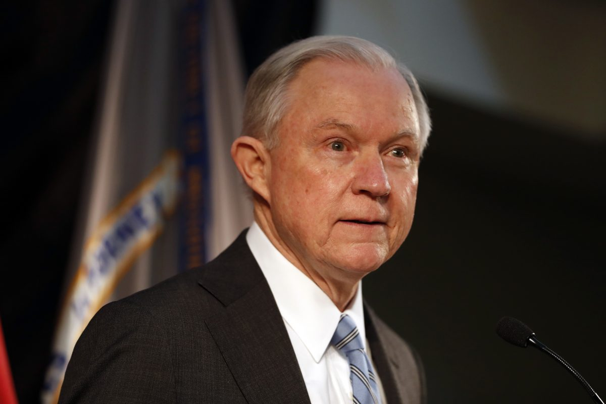 Attorney General Jeff Sessions speaks about crime to local, state and federal law enforcement officials Friday, March 31, 2017, in St. Louis.
