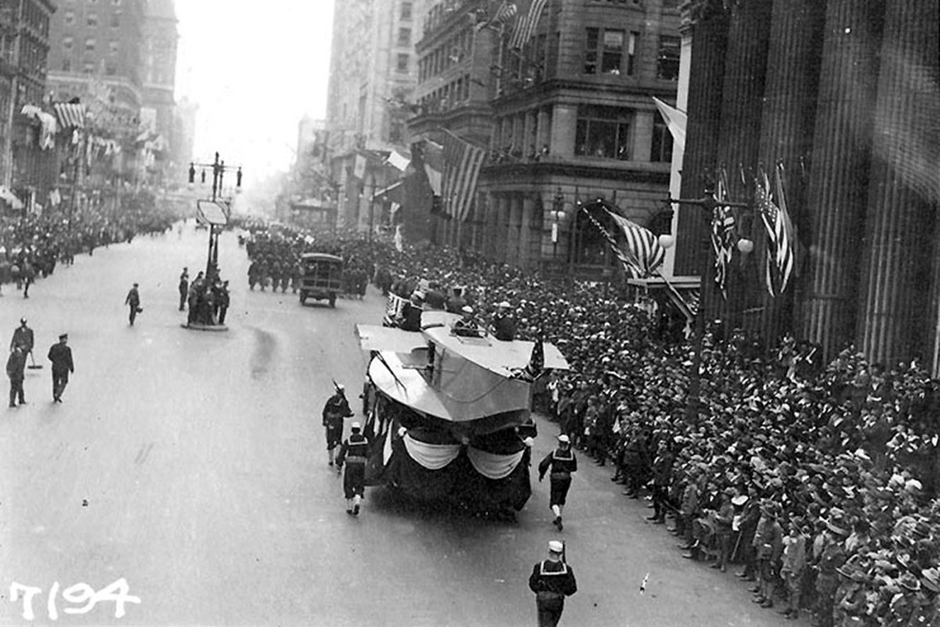 An aircraft hull was part of the Liberty Loan parade in Philadelphia in 1918 blamed for spreading a flu virus that killed more than 12,000 in the city.