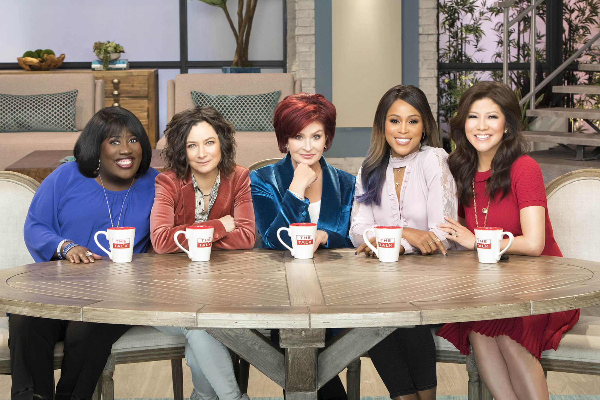 The ladies of The Talk on the CBS Television Network. From left, Sheryl Underwood, Sara Gilbert, Sharon Osbourne, Eve and Julie Chen,.
