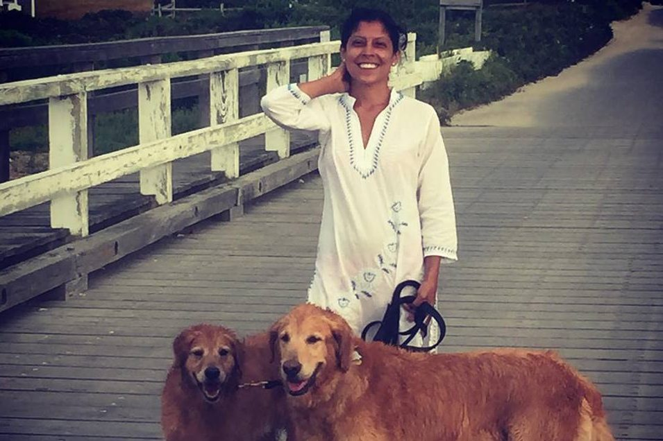 The author with her boys, Major (r) and Max on Nantucket in 2015.