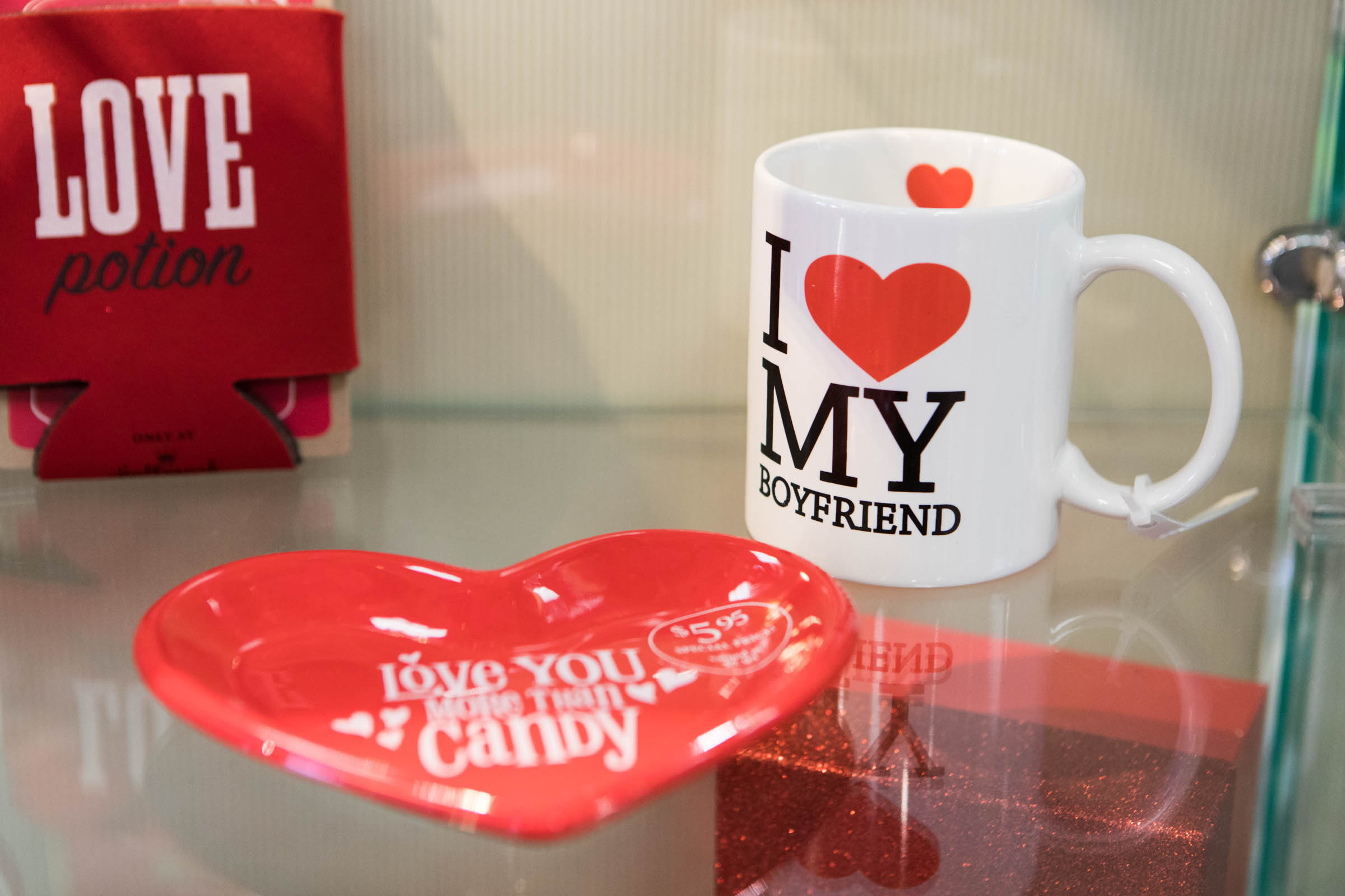 Valentine´s Day gifts on display at the Hallmark store at the Academy Plaza Shopping Center in Northeast Philadelphia.