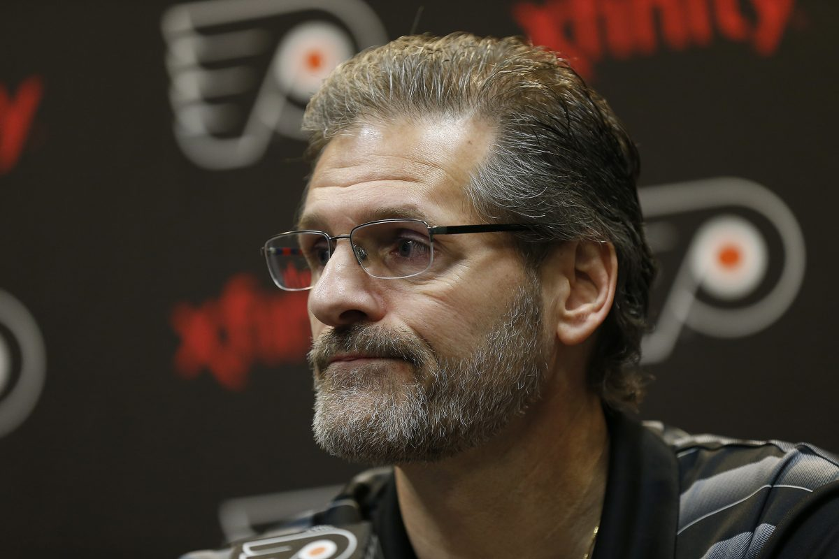 Flyers GM Ron Hextall speaks during a news conference at Flyers Skate Zone, Voorhees, NJ on April 13, 2017. DAVID MAIALETTI / Staff Photographer