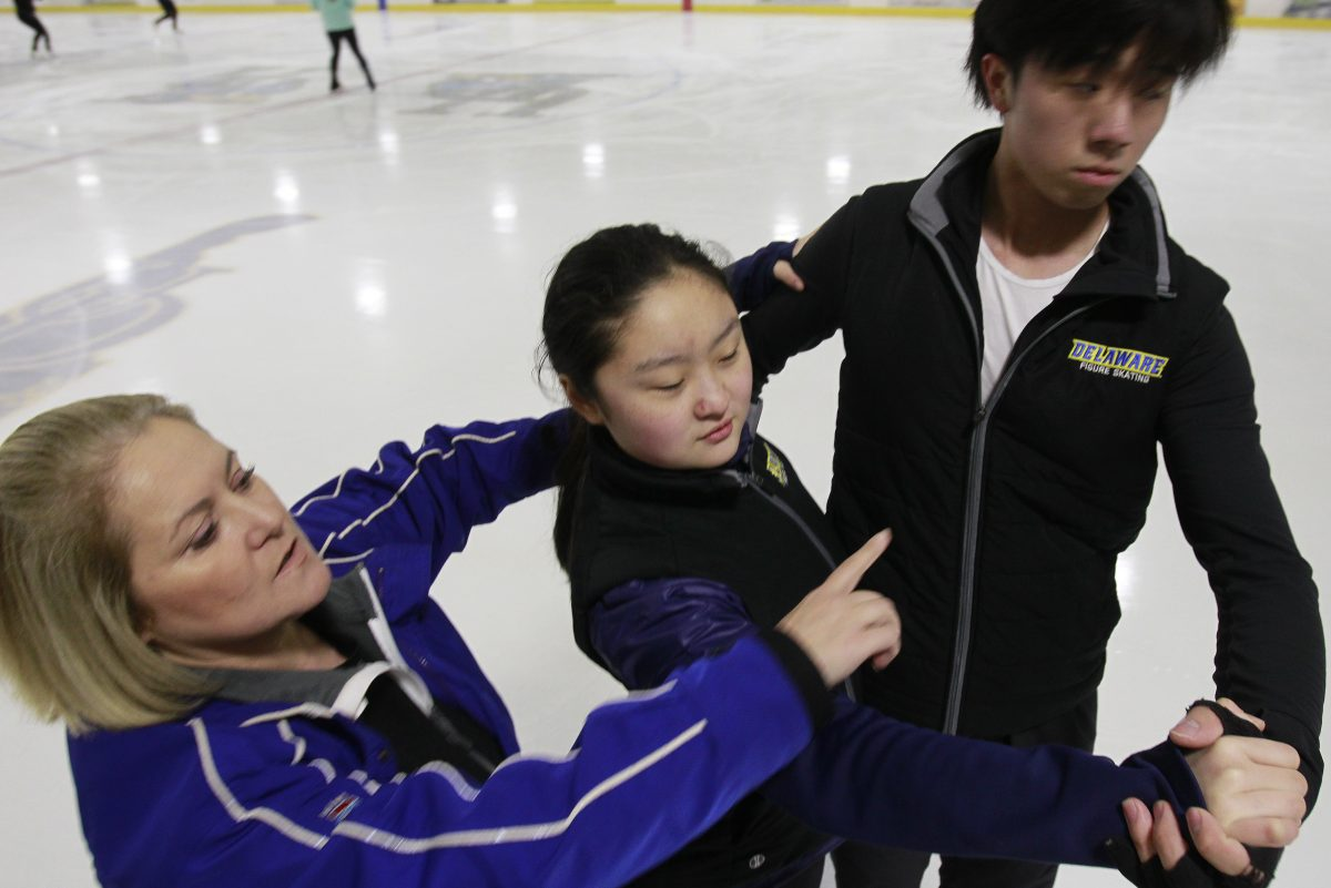 Olympic ice dance? University of Delaware coach has been there. Homemade teal chiffon outfit? She had that.