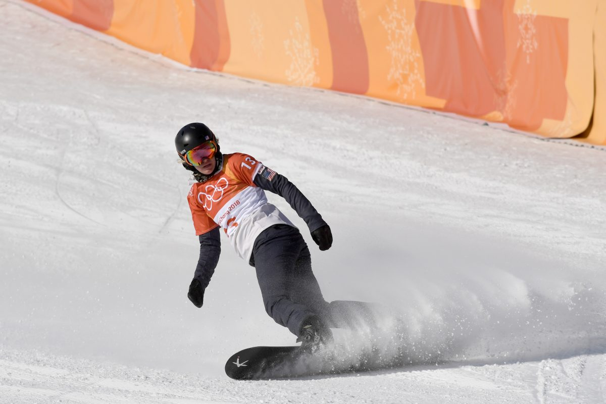 Lindsey Jacobellis from the US during the women's cross snowboarding event of the 2018 Winter Olympics in the Bokwang Snow Phoenix Park in Pyeongchang, South Korea on Feb. 16, 2018.