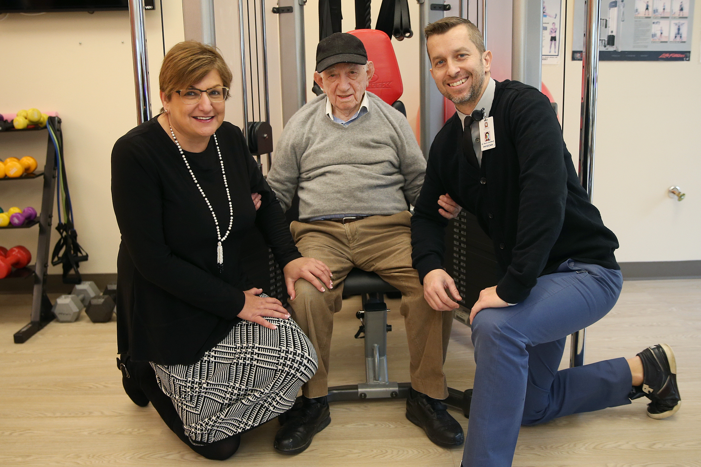 From left, Susan Love, CEO of Jewish Senior Housing and Healthcare Service; Yehuda Hammer, 101; and Kevin Overbeck, a physician at Rowan University´s New Jersey Institute for Successful Aging who works with Hammer, pose for a portrait at the Lions Gate retirement community in Voorhees Township, N.J., on Tuesday, Jan. 30, 2018. TIM TAI / Staff Photographer