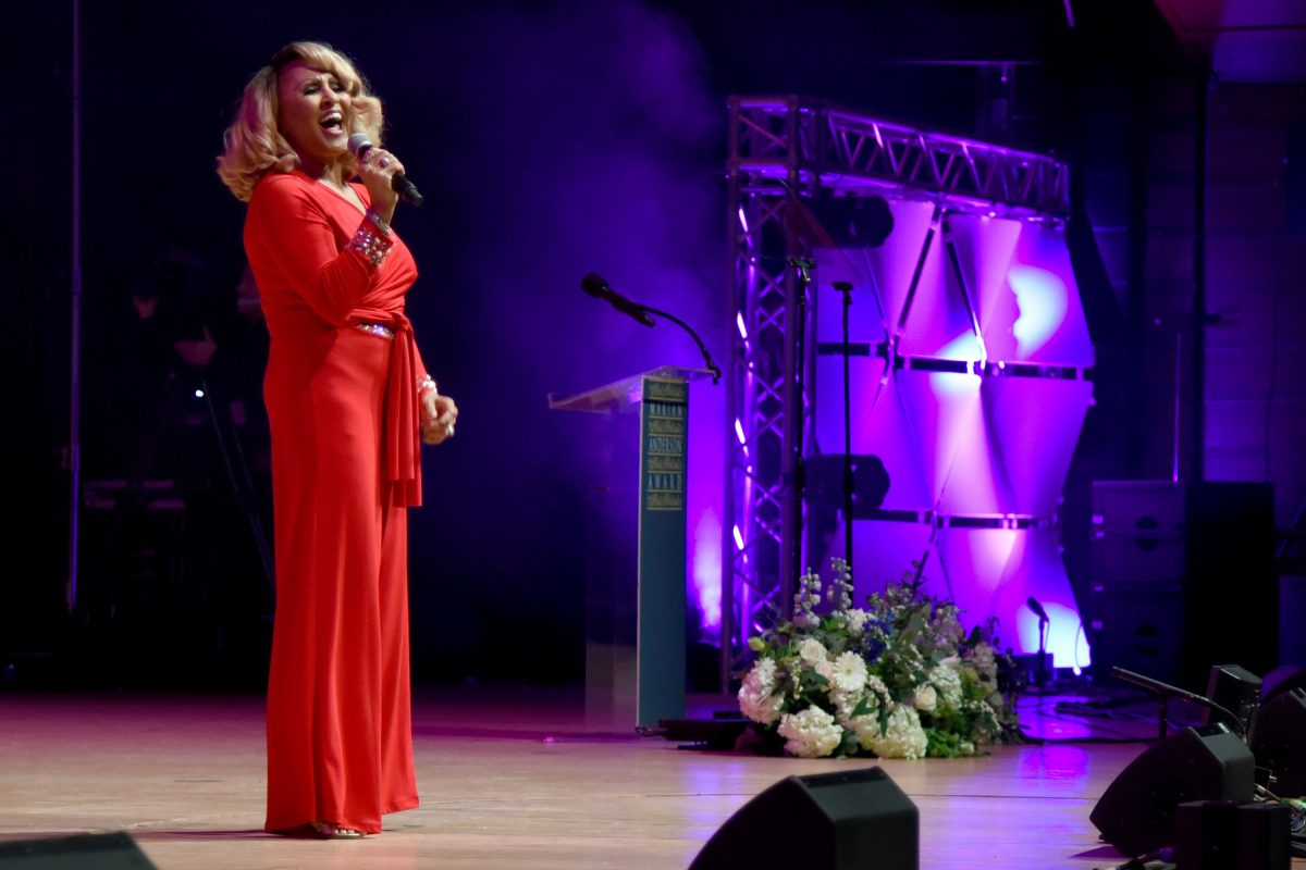 Darlene Love performs on stage at the 2017 Marian Anderson Award Gala for Dionne Warwick November 14, 2017, at the Kimmel Center. Love headlines art the Upper Darby Performing Arts Center on Thursday. TOM GRALISH / Staff Photographer