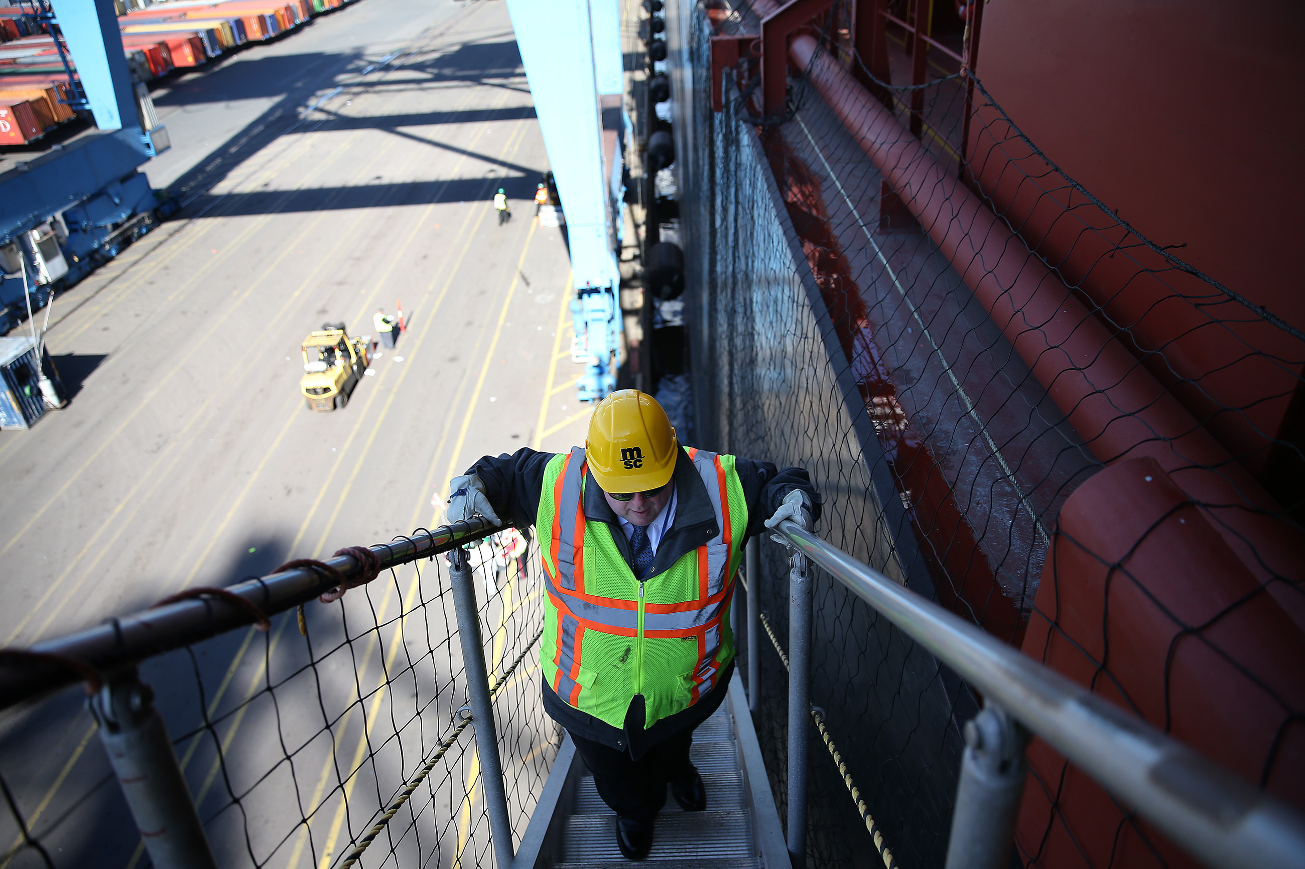 Daniel Lazovich, marine operation´s and reefer manager of PhilaPort, climbs onto the MSC Shuba B Tuesday.