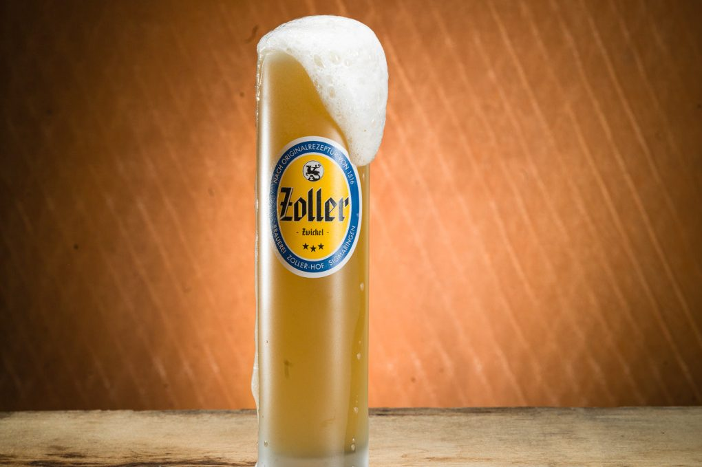 A frothy glass of unfiltered Zoller-Hof Zwickel beer from Southern Germany.