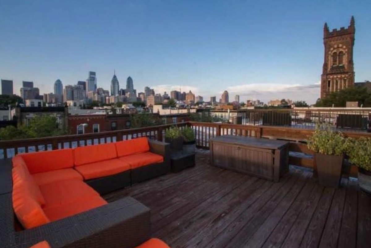 The roof deck at 2114 Christian St. Unit B in Philadelphia.