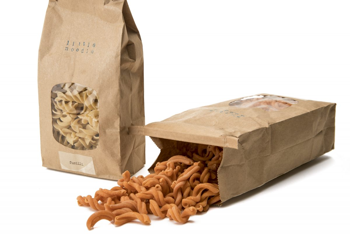 Fresh extruded pasta products from the  Little Noodle founded by local chef Jason Cichonski, including plain fusilli and red chile-infused gemelli.