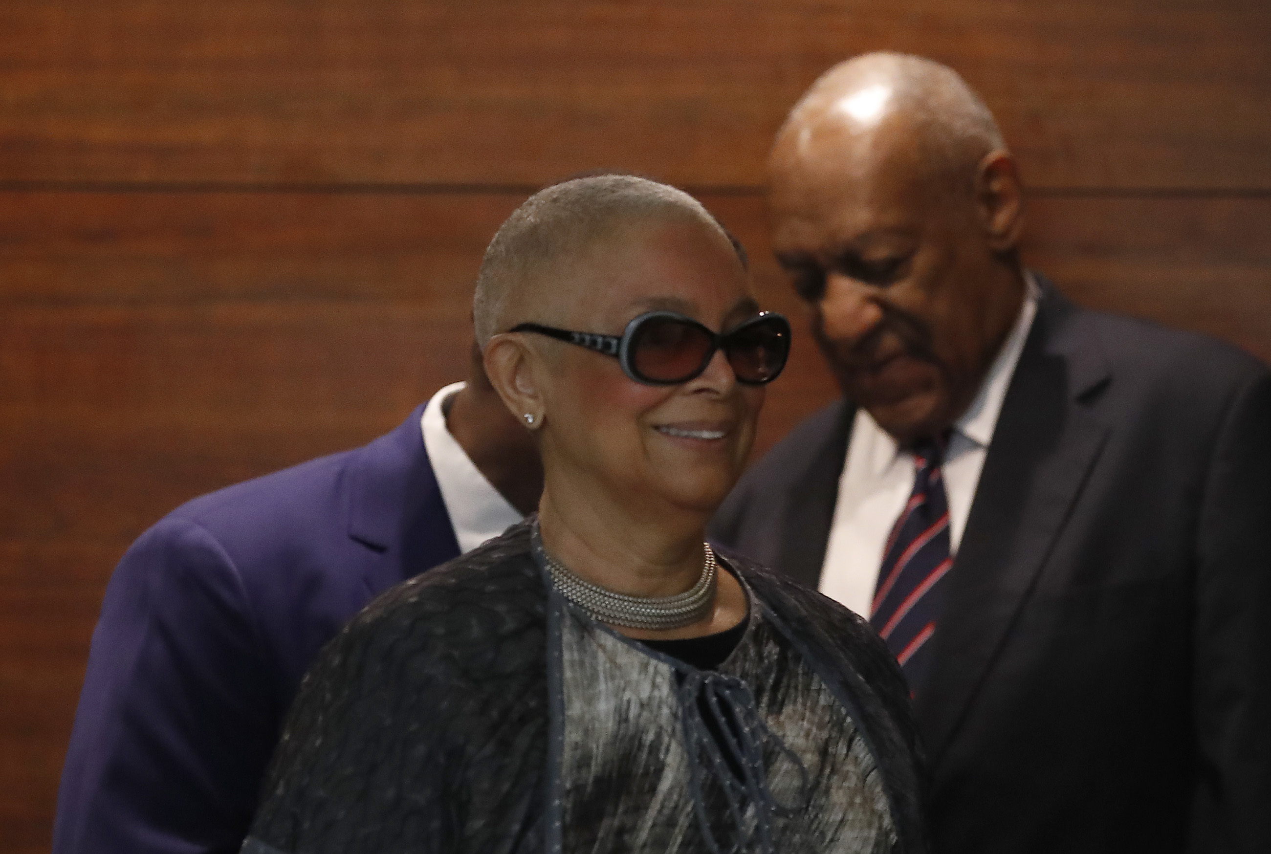 Camille Cosby, at left, and her husband Bill Cosby arrive at the Montgomery County Courthouse in Norristown, PA on June 12, 2017. Cosby is on trial for sexual assault.