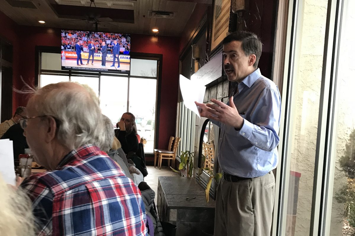 The Bogleheads, a national movement of low-cost investors, named after Vanguard founder John Bogle, meets through chapters in different cities. Here, the Philly chapter meets at Champps restaurant in King of Prussia (Credit: Erin Arvedlund).