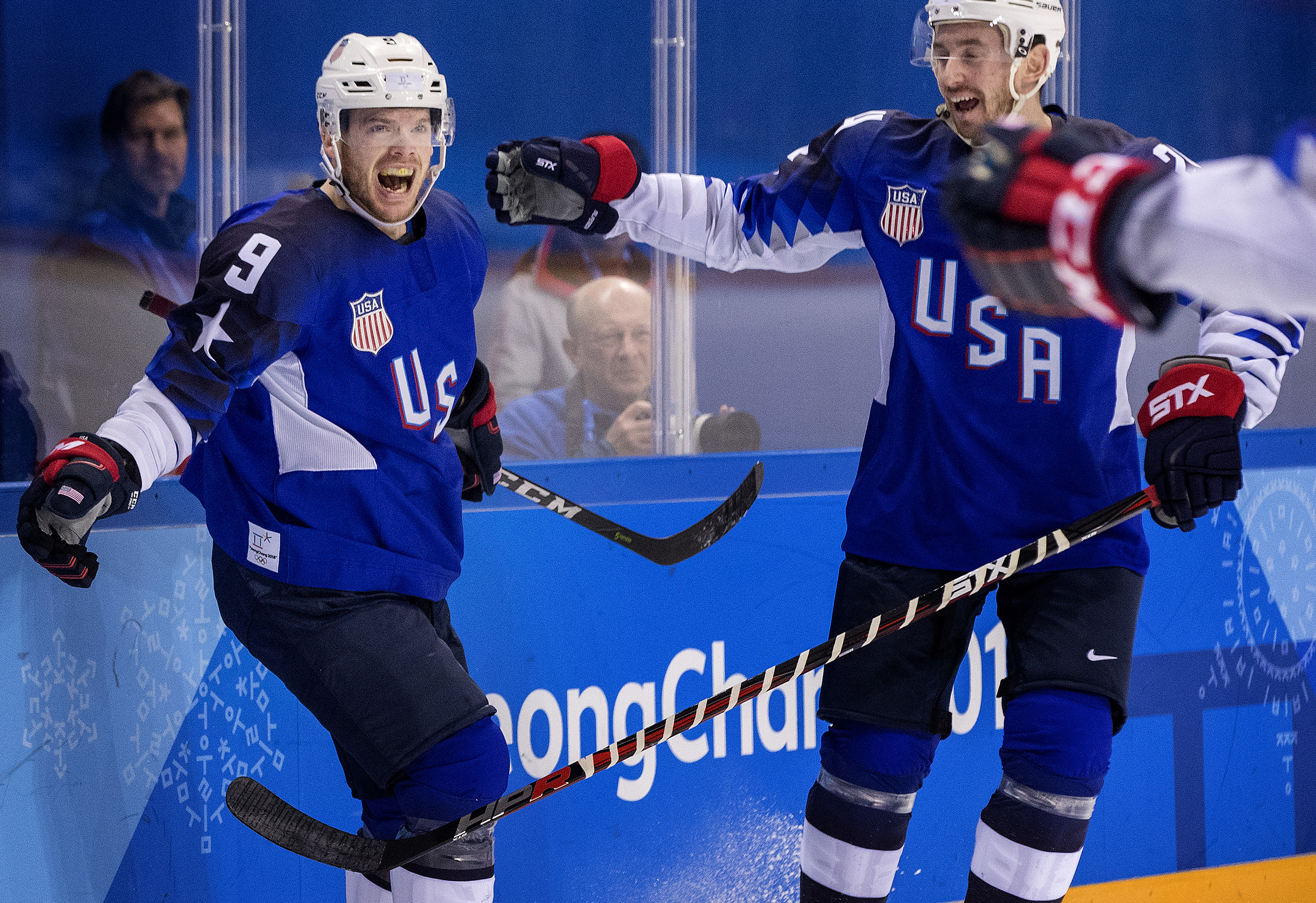 Yardley native Brian O Neill left) celebrated after scoring a goal in the first period, on February 14, 2018, at the Winter Olympics in South Korea, Pyeongchang