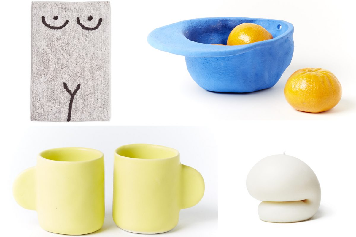 """A selection of goods available at Yowie (clockwise from top left):  Torso bathmat by Cold Picnic, a Brooklyn design house; a ceramic """"hat"""" bowl from Texas artist Wyatt Little; candle from Brooklyn's Talbot & Yoon; ceramic mugs."""