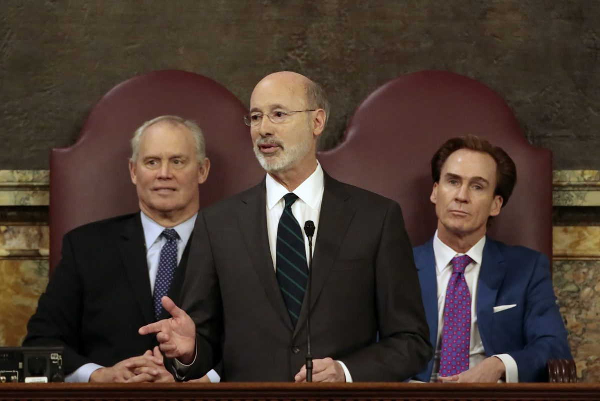 Gov. Wolf giving his budget address at the state Capitol on Feb. 6. He is flanked by House Speaker Mike Turzai (left) and Lt. Gov. Mike Stack. Wolf rejected Tuesday a map proposed by Turzai and Senate President Pro Tempore Joe Scarnati, the top Republicans in the legislature. Now the various parties, including Wolf, Turzai, and Stack, can propose maps to the Pennsylvania Supreme Court.