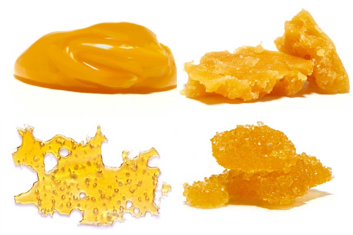 Concentrated forms of medical marijuana include (clockwise from top left) budder, wax, sugar, and shatter.
