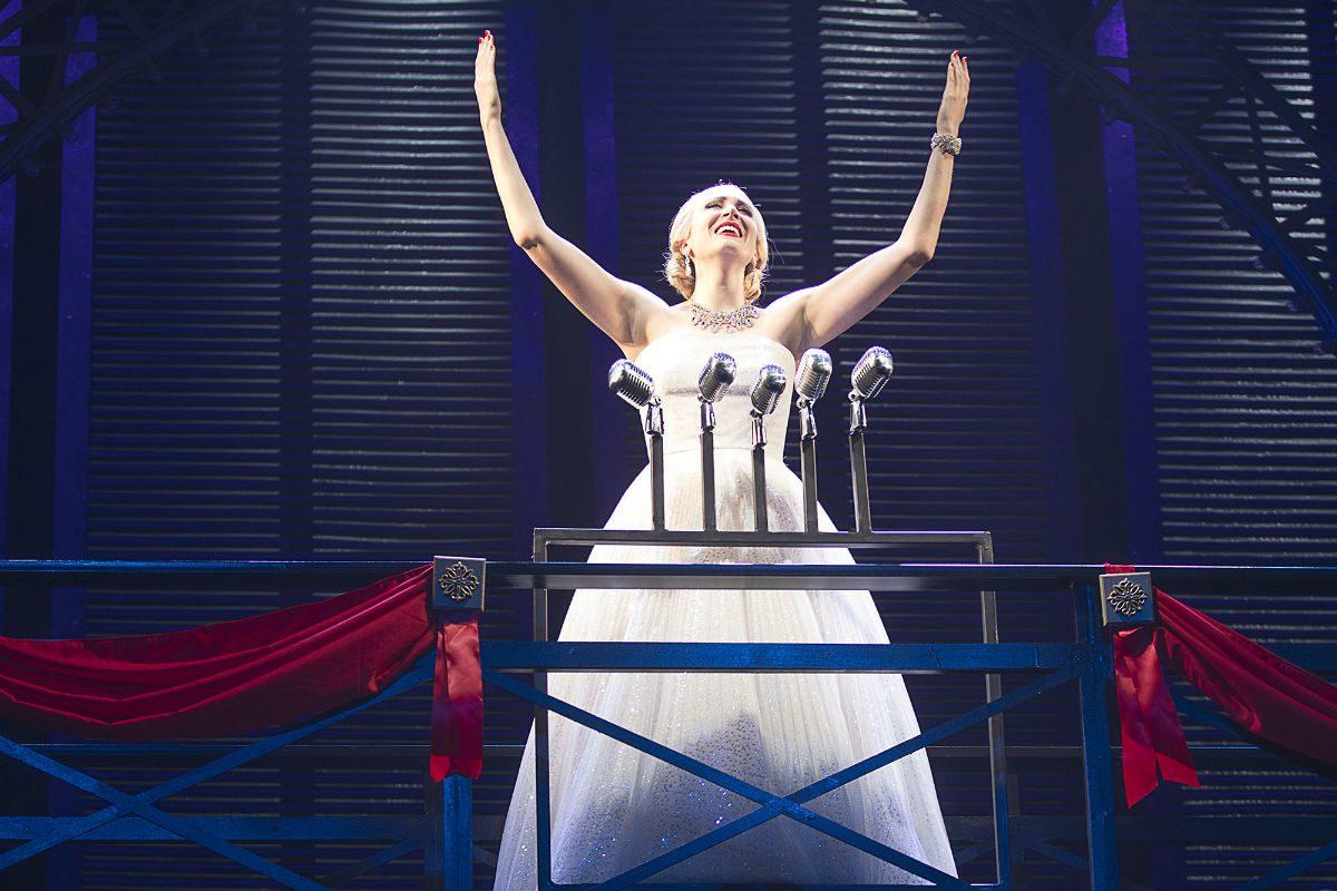 "Dee Roscioli as Evita Peron in the Pennsylvania Shakespeare Festival production of ""Evita."""