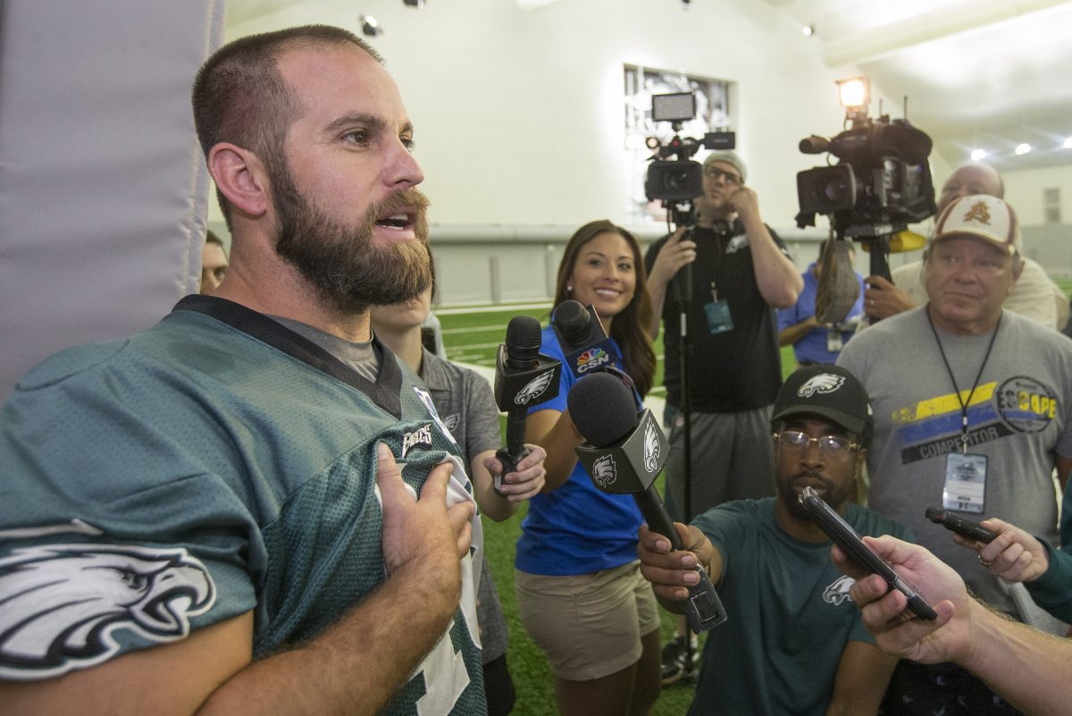 Jon Dorenbos talks to reporters outside an Eagles practice in 2016.