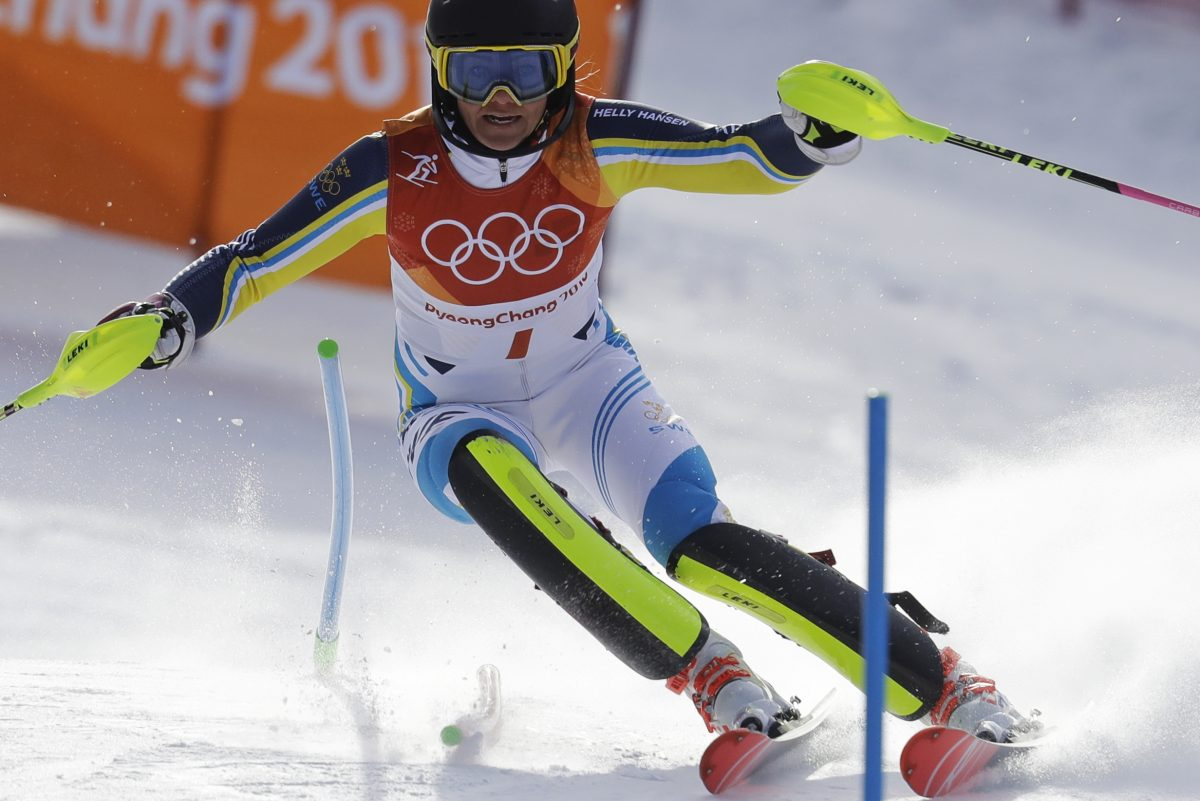 Frida Hansdotter, of Sweden, skis during the first run of the women's slalom at the 2018 Winter Olympics in Pyeongchang, South Korea, Friday, Feb. 16, 2018.