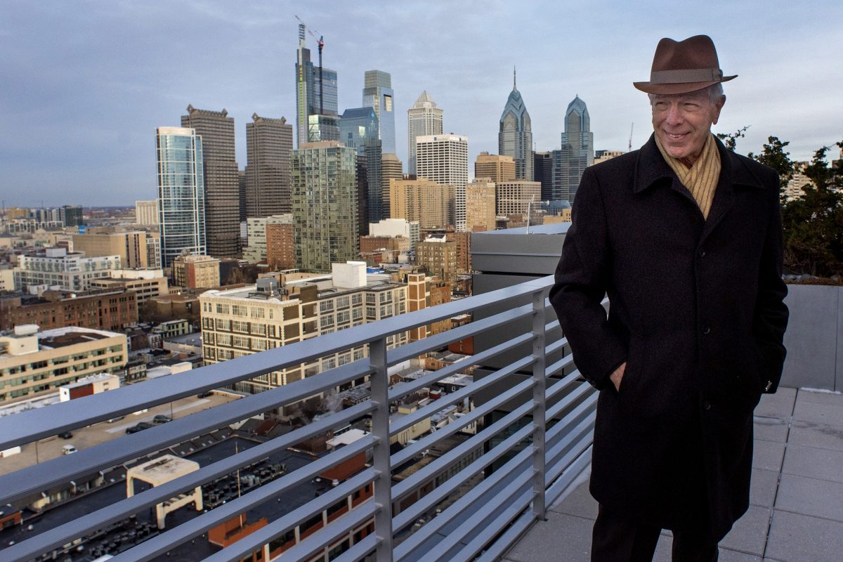 Developer Carl Dranoff poses on one of the two roof decks included in the largest penthouse at One Riverside.