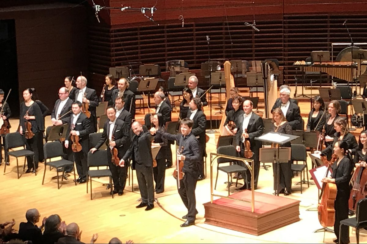 Yannick Nezet-Seguin (left) and Joshua Bell (right) at his Thursday night concert with the Philadelphia Orchestra