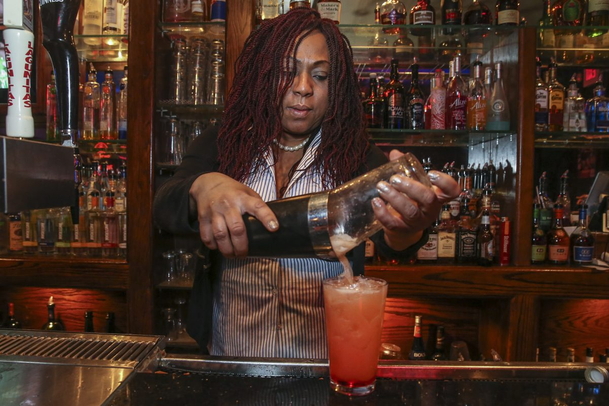 "Bartender Augusta Mason makes ""The Obama"" drink at Parkside Beef & Ale"