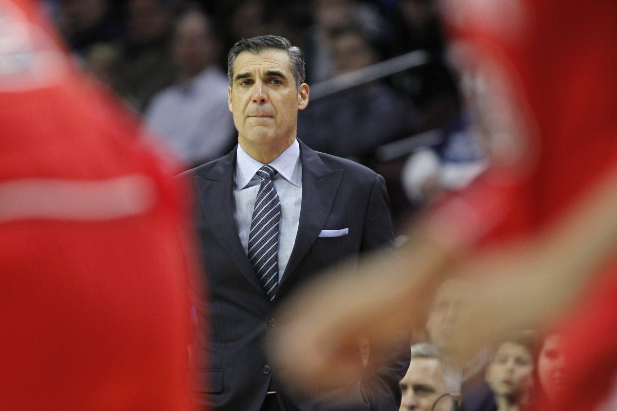 Villanova coach Jay Wright watches from the sideline during the first half of the team's NCAA college basketball game against St. John's, Wednesday, Feb. 7, 2018, in Philadelphia.