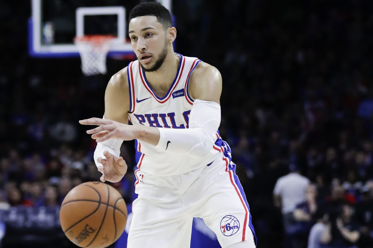 Sixers guard Ben Simmons passes the basketball against the Los Angeles Clippers on Saturday, February 10, 2018 in Philadelphia.