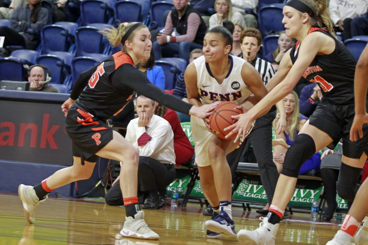 Penn guard Anna Ross had 12 points and four assists Friday in the Quakers' win over Ivy League rival Columbia. Pictured is Ross in the Ivy League Championship game against Princeton last March.