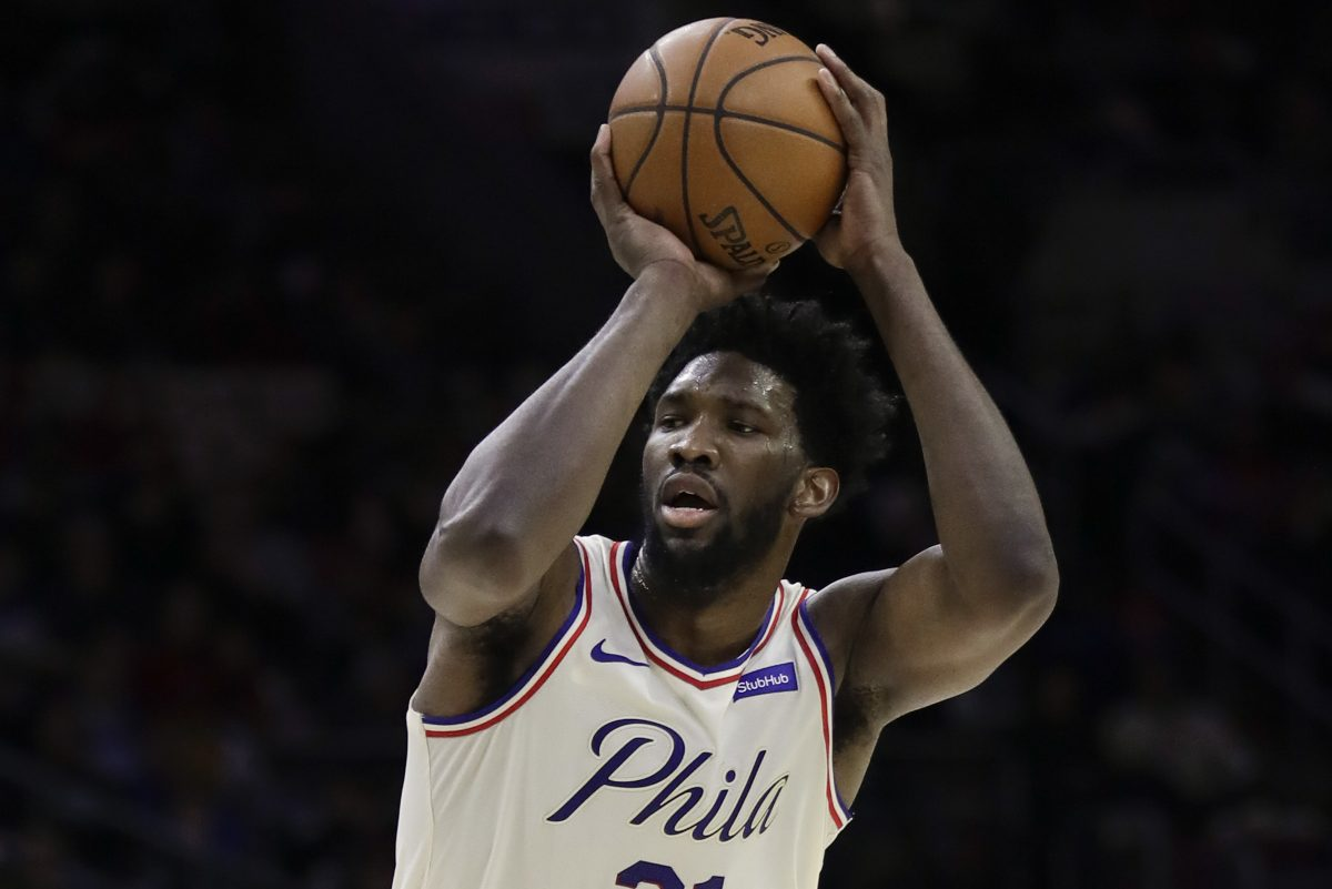 Sixers center Joel Embiid shoots the basketball against the New Orleans Pelicans on Friday, February 9, 2018 in Philadelphia.
